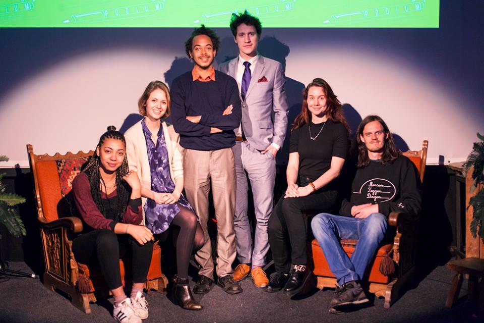 Jesse Laport op Frontaalpodium Rotterdam 24 april 2016 met o.a. Raoul de Jong en Helena Hoogenkamp