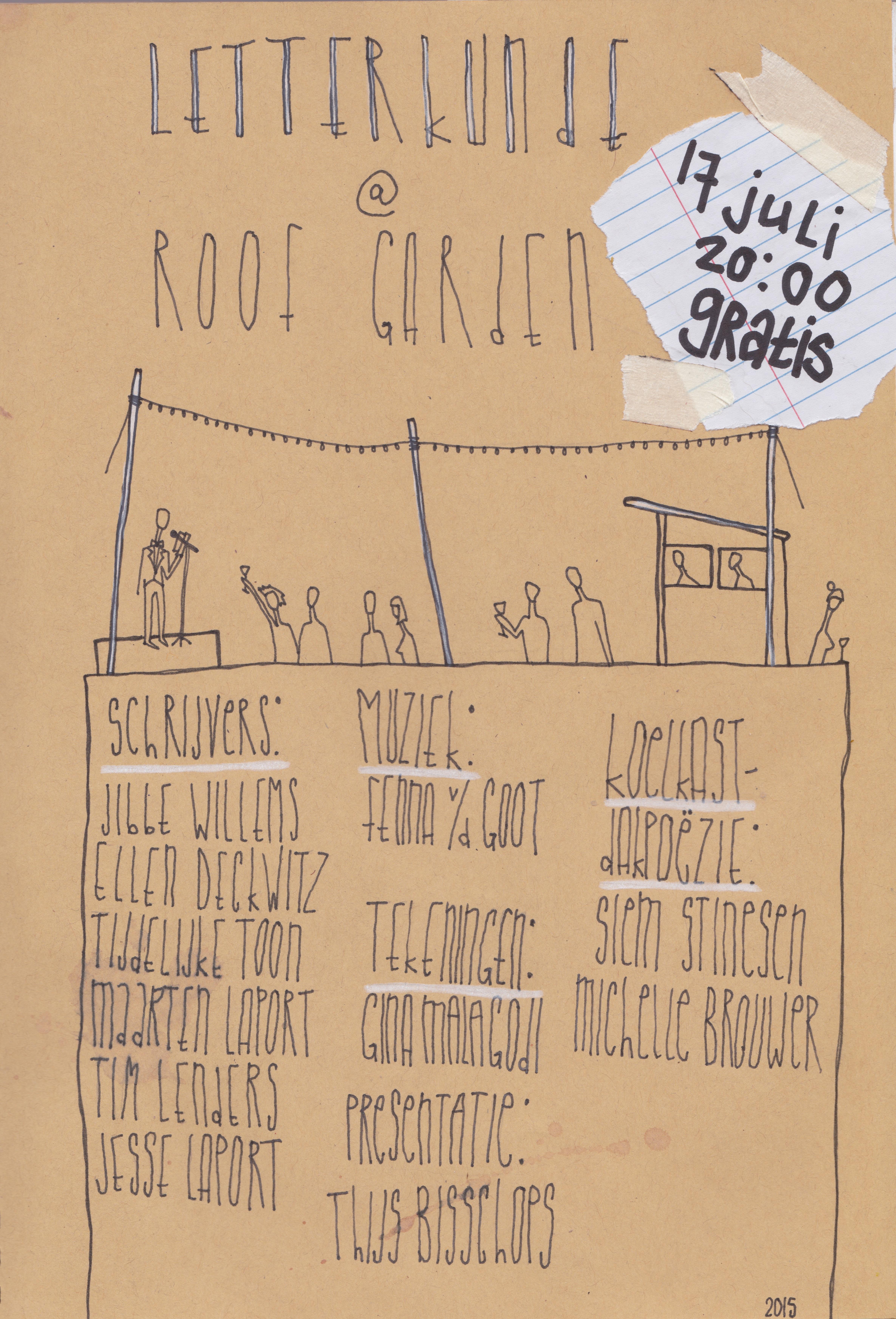 Poster verticaal Letterkunde 17 juli Roof Garden