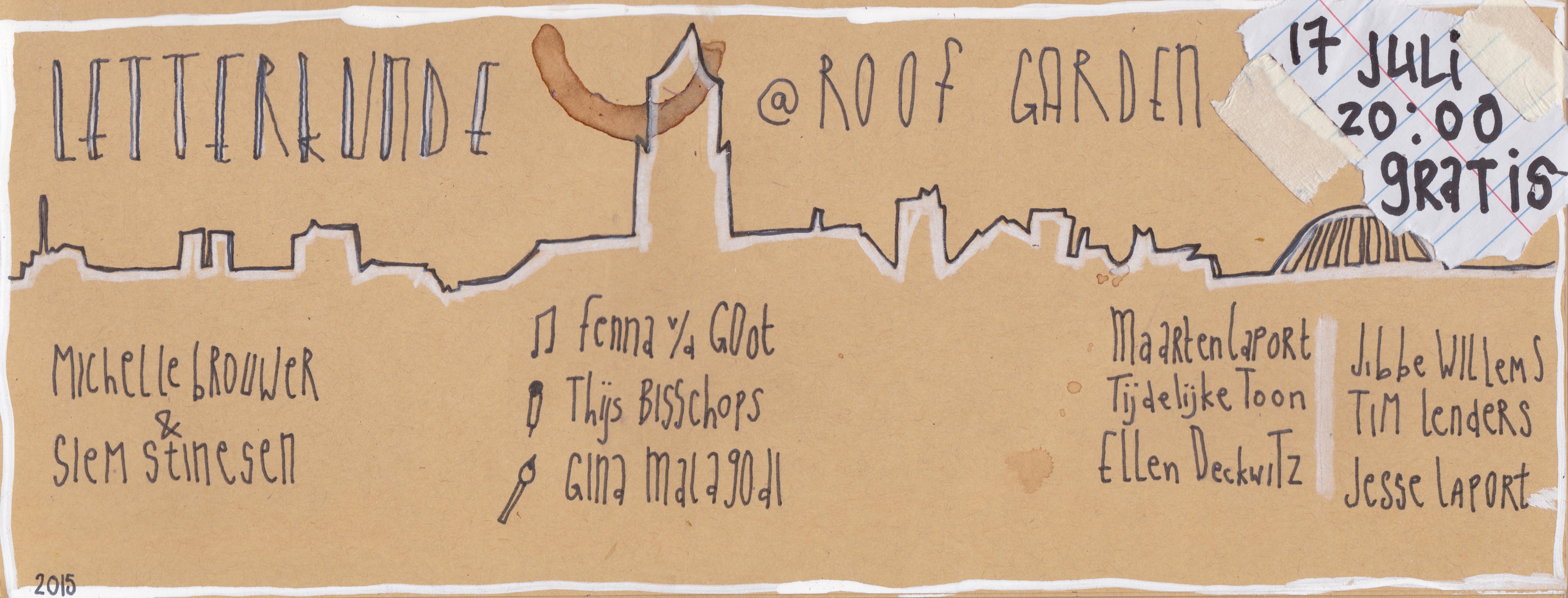 Poster horizontaal Letterkunde 17 juli Roof Garden