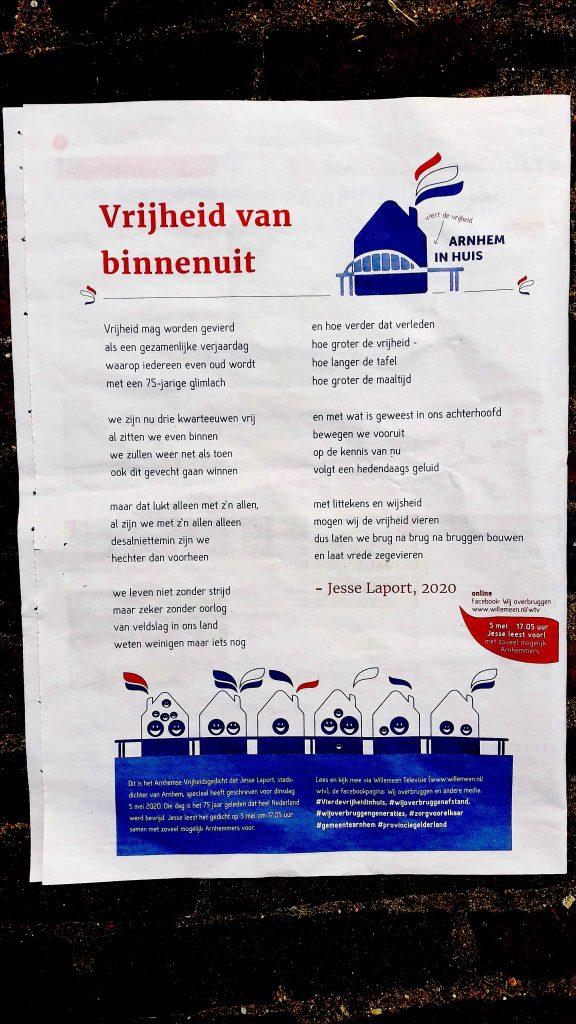 Jesse Laport, stadsdichter Arnhem, spoken word, poezie, bevrijdingsdag, herdenking, toespraak, 2020